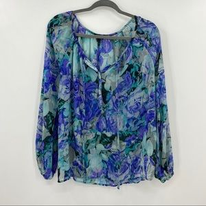 🍒 Jessica Simpson Floral Sheer Peasant Blouse